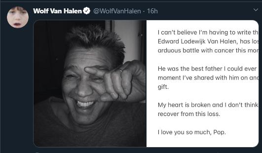 Wolf Van Halen despidió a su padre en Twitter.