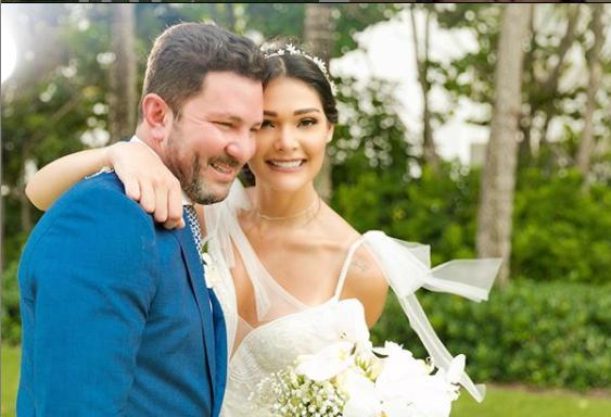 Andrea Rosales el día de su boda con el empresario Octavio Maza. Foto: Instagram