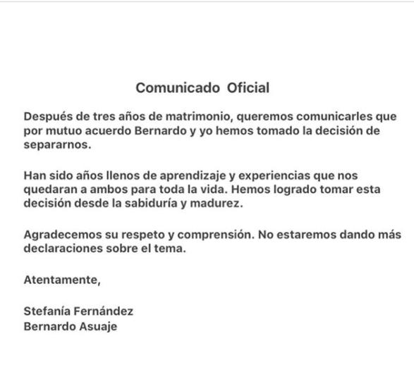 Con este comunicado, Stefanía Fernández confirmó que se divorciaba. Foto: Instagram