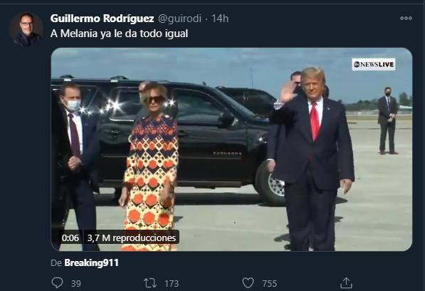 El gesto de Melania Trump dio chance para muchos comentarios. Foto: Twitter