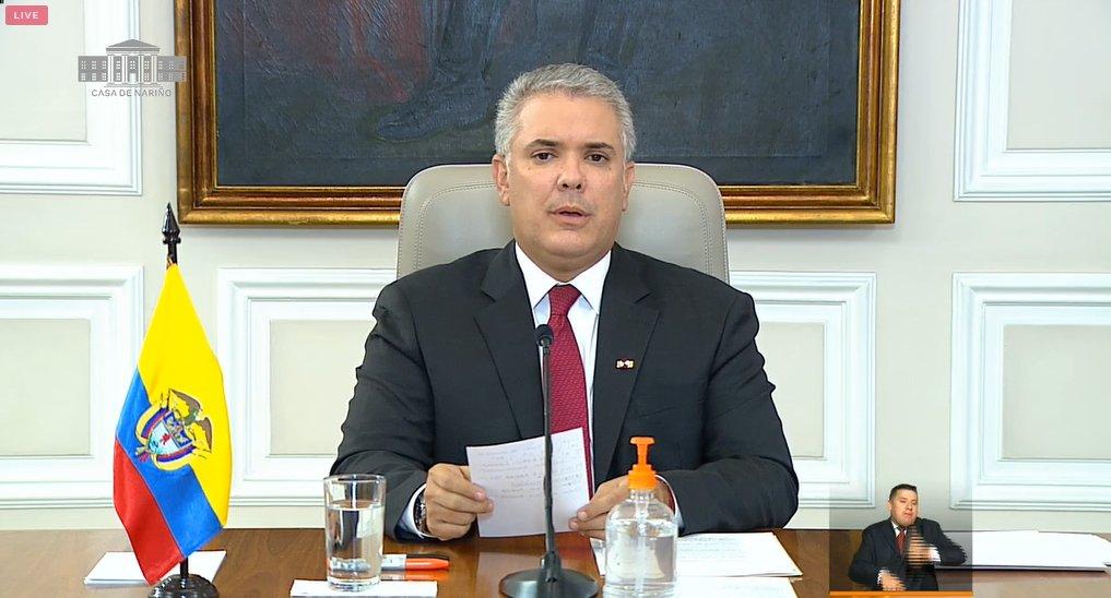 """El presidente de Colombia, Iván Duque, pide a la Unión Europea (UE) """"más presión"""" Nicolás Maduro."""