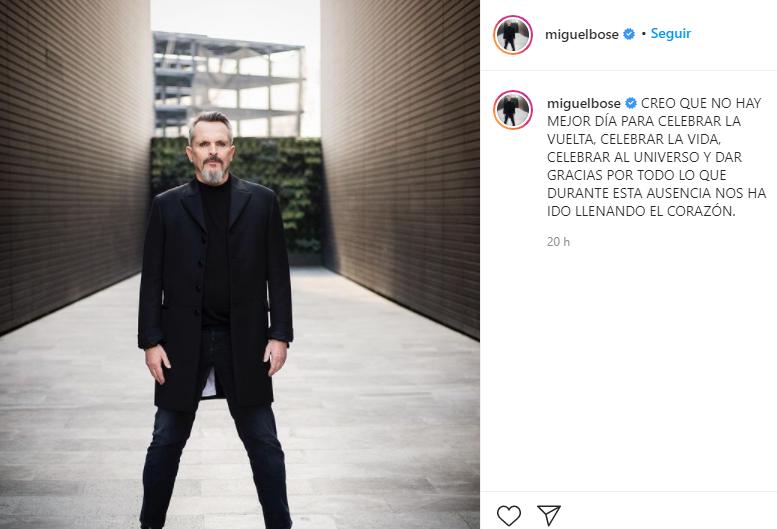 La primera fotografía del recargado Miguel Bosé. Foto: Instagram