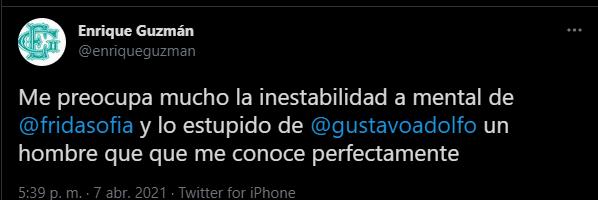 Ante los señalamientos, Enrique respondió en nombre de la familia Guzmán a su nieta. Foto Twitter