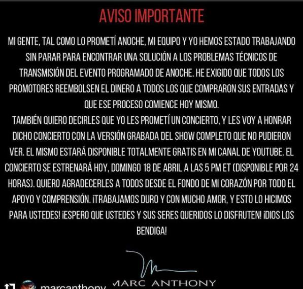 Marc Anthony tendrá disponible su concierto gratis por 24 horas. Foto: Instagram