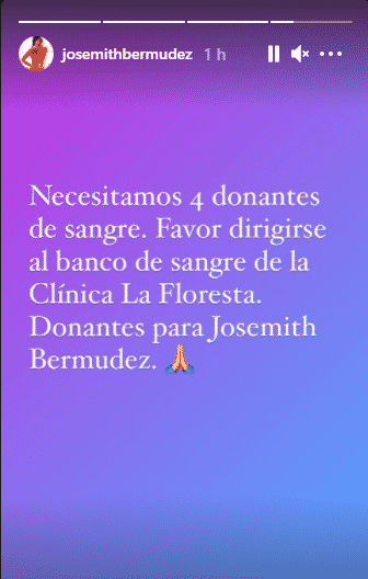 Josemith Bermúdez está en nuevo tratamiento. Foto Instagram