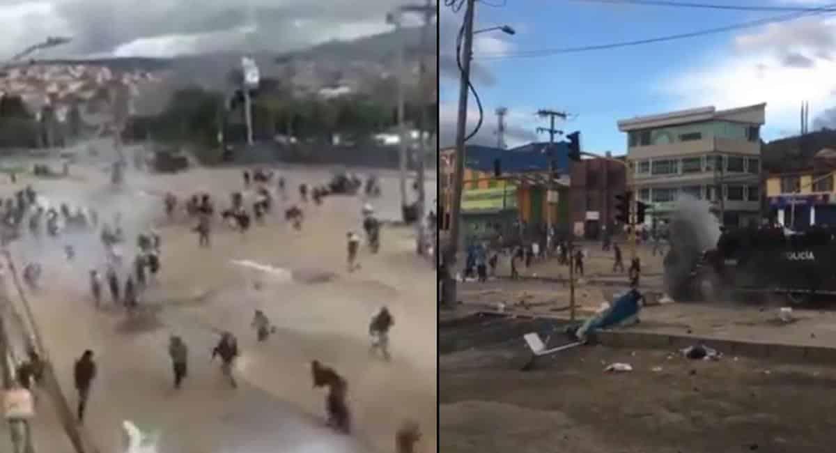 Violentos enfrentamientos entre policía y manifestantes en localidad de Usme, sororiente de Bogotá
