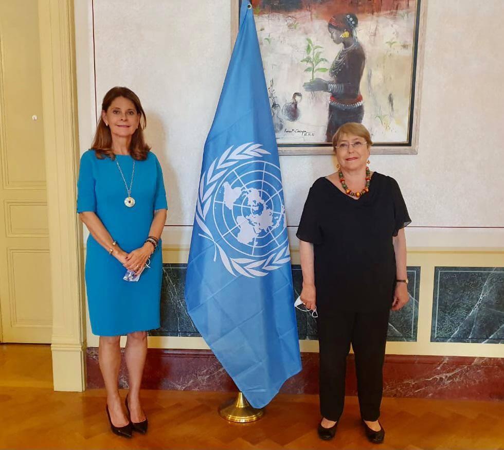 Marta Lucía Ramírez, canciller de Colombia y Michelle Bachelet, alta comisionada para los DD.HH. de la ONU