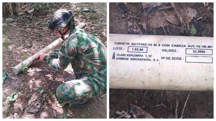 En la vereda Peralonso, del municipio de Arauquita, Arauca, a poca distancia de la frontera, unidades del Ejército Nacional de Colombia hallaron un cohete. Se trata de un Skyfire -70 M9 con cabeza AVC-70 HE-M1 utilizado en aviones de combate de la Aviación Militar Bolivariana de Venezuela.