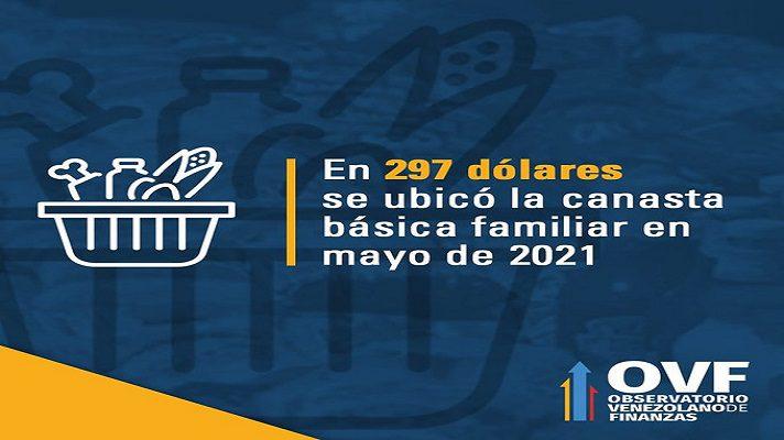 para el quinto mes de este 2021, la Canasta Alimentaria está a punto de llegar al billón de bolívares, al ubicarse en 296,54 dólares.
