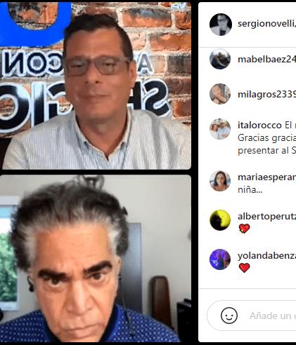 El Puma con Sergio Novelli durante la entrevista que se vio en live de Instagram