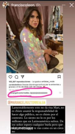 Por este comentario en Instagram, Francisco León arremetió contra Mariángel Ruiz.