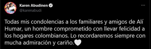 La ministra de Comunicaciones expresó el pesar por la partida de Alí Humar en Twitter.