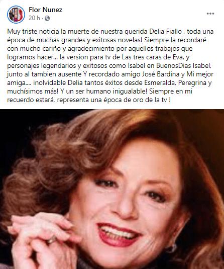 Delia Fiallo también fue recordada por Flor Núñez. Foto Facebook