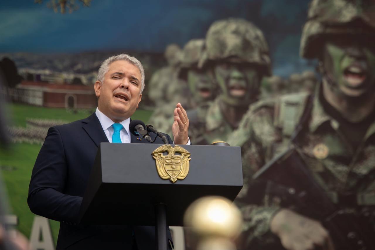 Iván Duque conmemorando el 20 de julio de 2021 en Escuela Militar
