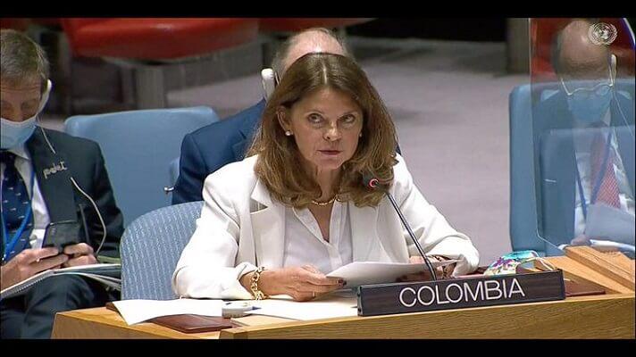 La canciller y vicepresidenta de Colombia, Marta Lucía Ramírez habló ante el Consejo de Seguridad de la ONU, en Nueva York, EE.UU. Asumió, en nombre de su país,