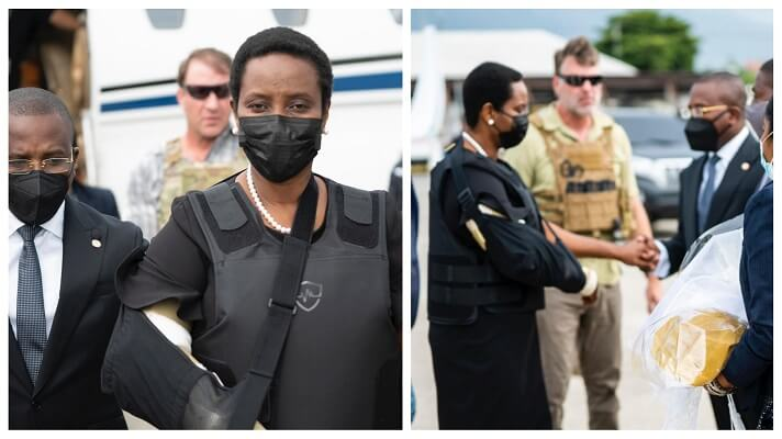 Martine Moise, la viuda del presidente haitiano, Jovenel Moïse, asesinado el pasado 7 de julio, regresó este sábado a Puerto Príncipe. Lo hizo después de haberse tratado en un hospital de Miami las heridas que sufrió durante magnicidio.