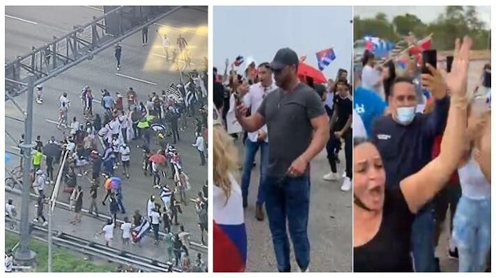"""Un grupo de cubanos exiliados de Miami cerró este martes el tráfico en la autopista Palmetto Expressway, una de las más importantes de la ciudad. Al grito de """"¡Libertad!"""", protestan contra la cruenta represión de las protestas en la isla, por parte del régimen de Miguel Díaz-Canel."""