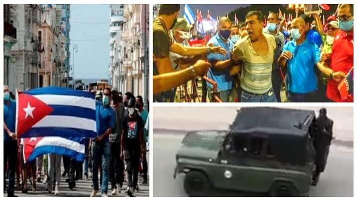 Una semana después de la mayor oleada de protestas ciudadanas en más de seis décadas, la Policía y los militares vigilan exhaustivamente las calles de Cuba. Lo hacen especialmente en la ciudad de San Antonio de los Baños, donde se originó todo.