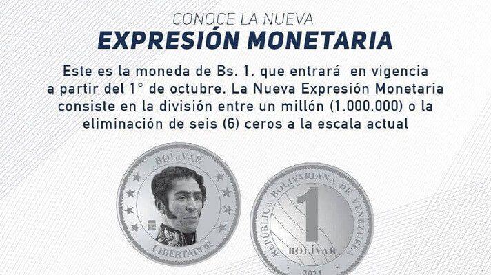 El Banco Central de Venezuela anunció este lunes que a partir de 1 de octubre entrará en circulación la moneda de 1 bolívar, equivalente al billete de Bs. 1 millón.