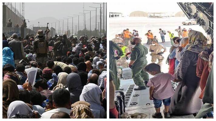 Frente al aeropuerto, los soldados estadounidenses y franceses señalan a quienes podrán acceder a uno de los vuelos de evacuación :