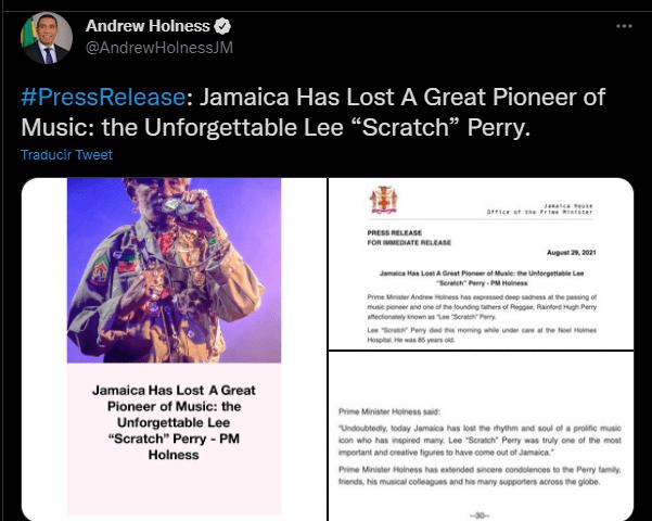 """El primer ministro de Jamaica informó del deceso de Lee """"Scratch"""" Perry en Twitter."""