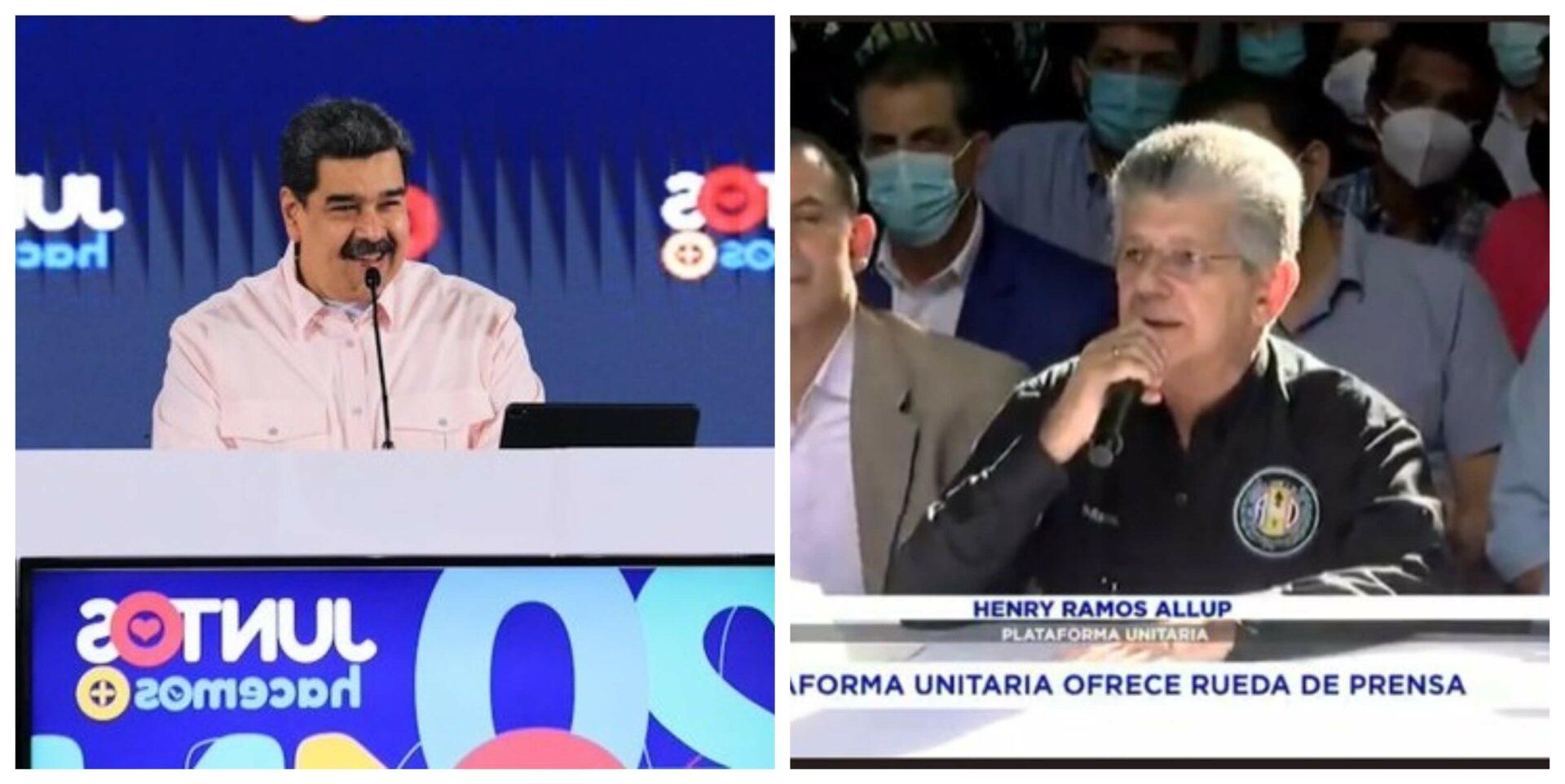 El 31 de agosto marcó un hito en la historia política de Venzuela. Luego de tres años llamando a la abstención, la plataforma unitaria, es decir, la oposición liderada por Juan Guaidó, aceptó participar en las elecciones regionales. Los protaginistas de este día fueron Nicolás Maduro y Henry Ramos Allup. Y tal es la relevancia de la fecha que el primero terminó felicitando al segundo.