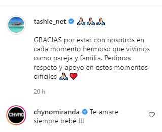 Las muestras de amor de Chyno y Tashie. Foto Instagram