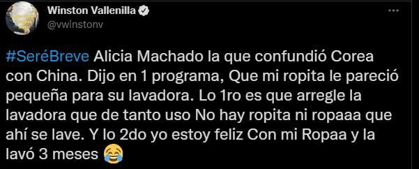 La respuesta de Winston Vallenilla a Alicia Machado. Foto Twitter